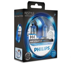 Лампа Philips Color Vision Blue H4 12V- 60/55W (P43t)  (2шт)