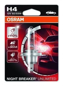Лампа Osram Night Breaker Unlimited H4 12V- 60/55W (P43t) (блистер 1шт.)