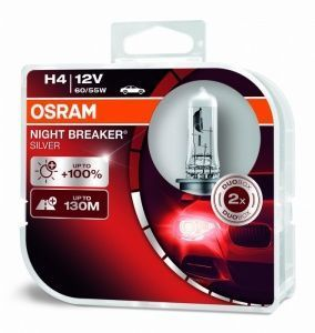 Лампа Osram Night Breaker Silver H4 12V- 60/55W (P43t) (2шт) DuoBox