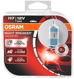 Лампа Osram Night Breaker Unlimited H7 12V- 55W (PX26d) (2шт) DuoBox